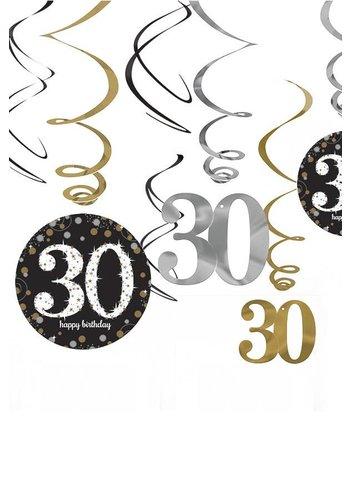 Swirl Decoration Happy Birthday 30 - 12 stuks