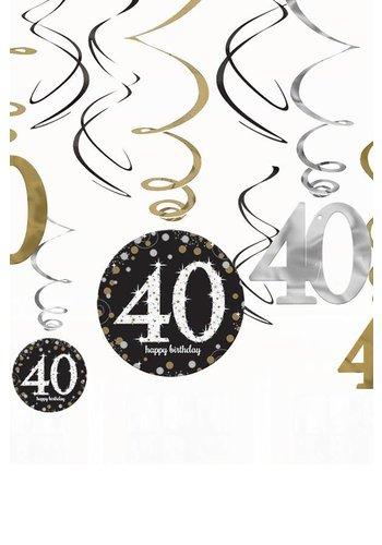 Swirl Decoration Happy Birthday 40 - 12 stuks