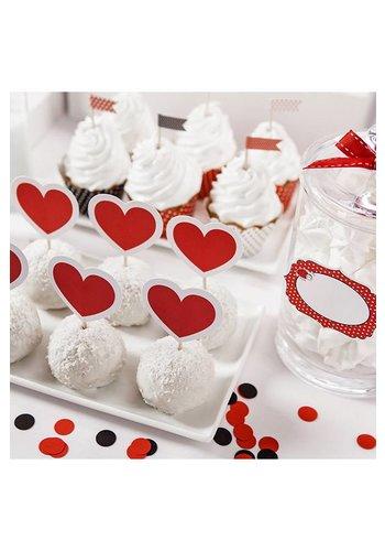 Cupcake toppers hartjes - 10cm - 6 stuks