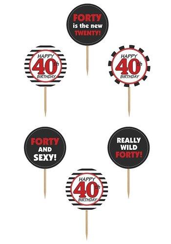 Cupcake toppers 40 - 10cm - 6 stuks