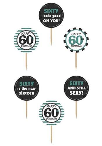 Cupcake toppers 60 - 10cm - 6 stuks