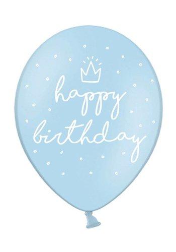 Ballonnen Happy Birthday Blauw - 30cm - 6st