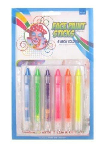 Schmink krijtjes - 6 Neon kleuren
