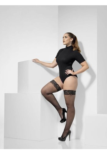 Visnet Hold-Ups XL - Zwart - Lace Tops met Silicone