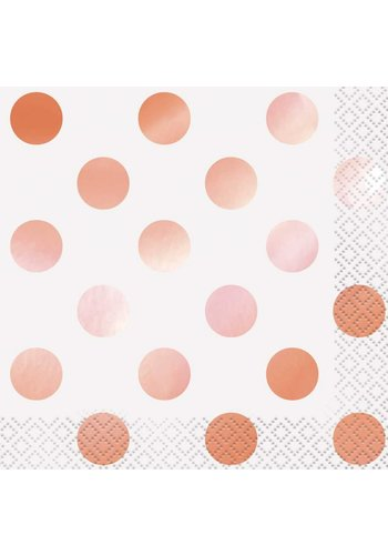 Servetten dots Rosé Gold 33x33cm - 16 stuks