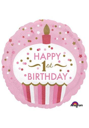 Folieballon 1ste Birthday Cupcake Girl - 45cm