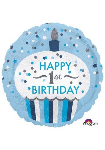 Folieballon 1ste Birthday Cupcake Boy - 45cm