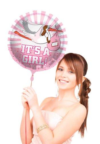 Folieballon - It's a Girl Stork - 45cm