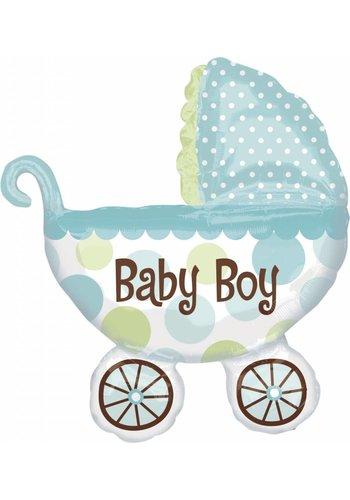 Folieballon Baby Buggy Boy - 79x71cm