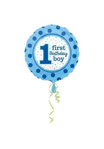 Folieballon 1ste Birthday Boy - 45cm