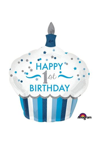 Folieballon Shape 1ste Birthday Boy - 73x91cm