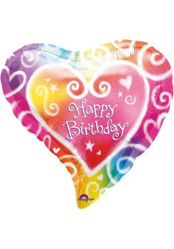 Folieballon - Happy Birthday Heart - 45cm