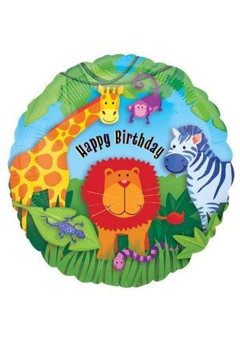 Folieballon - Happy Birthday Jungle - 45cm