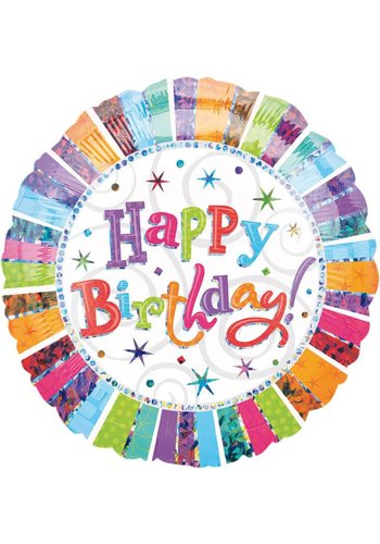 Folieballon - Happy Birthday Glitter - 45cm