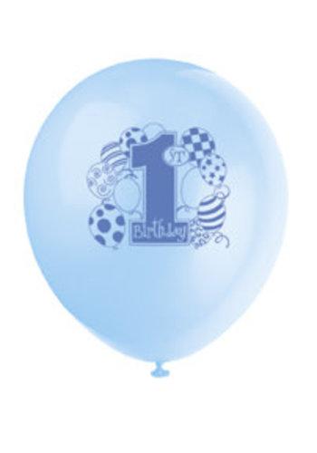 Ballonnen Jongen 1 jaar - 8 stuks