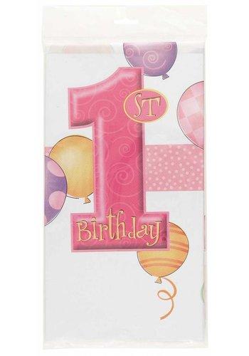 Tafelkleed 1 jaar roze - 137x213cm