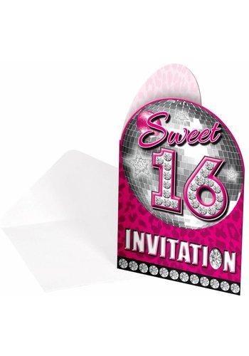 Sweet 16 Uitnodigingen - 8 stuks