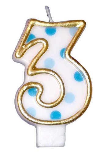 Cijferkaarsje 3 Blauw