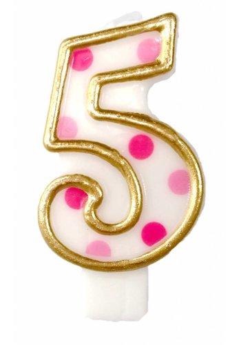 Cijferkaarsje 5 Roze