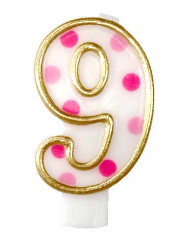Cijferkaarsje 9 Roze