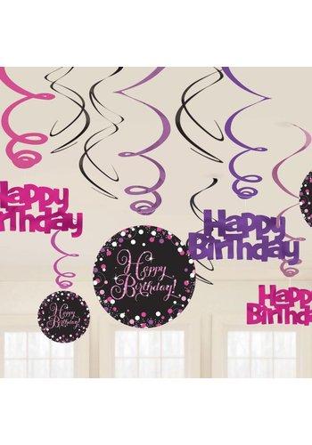 Sparkling Birthday Pink- Swirl deco - 12 stuks