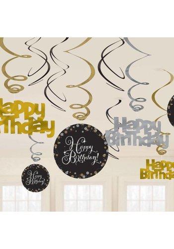 Sparkling Birthday Gold - Swirl deco - 12 stuks