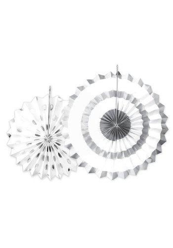 Sparkling Silver waaiers - 2 stuks