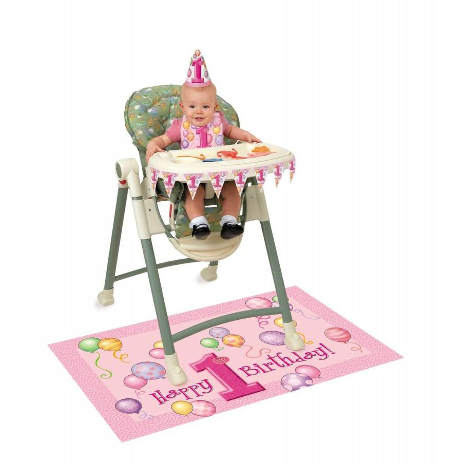 1st Birthday pink & Gold stoel versiering-1