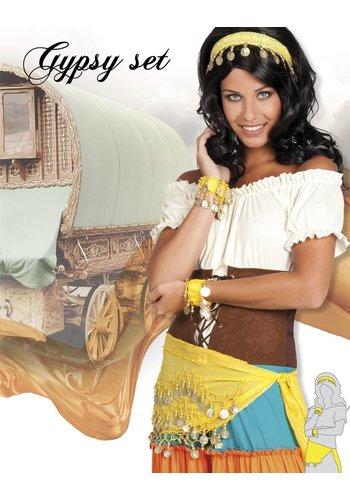 Set Gypsy - hoofdband, armbanden & ceintuur