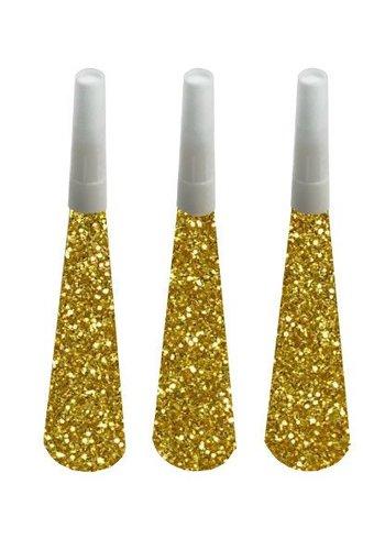 Sparkling Gold glitter toeters - 6 stuks
