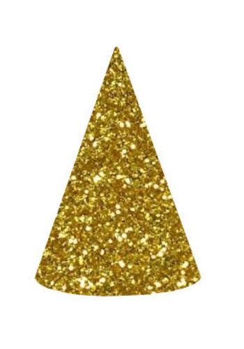 Sparkling Gold glitter hoedjes - 6 stuks