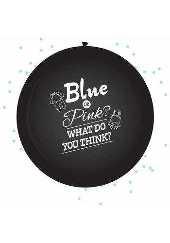 XL Ballon Gender reveal boy - incl blauwe confetti