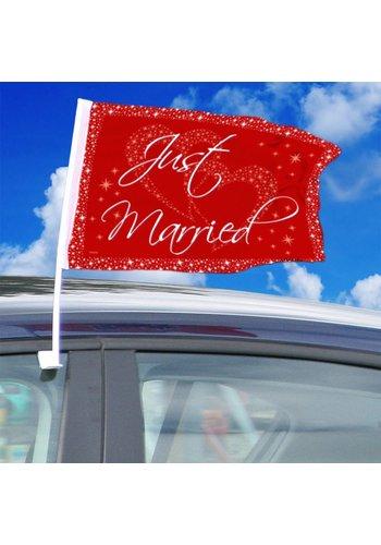Autovlag Just Married - 2 stuks - 30cm