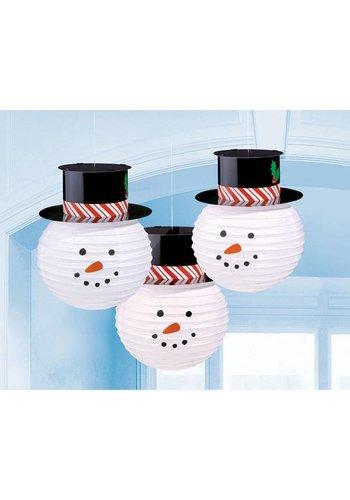 Lampionnen Sneeuwman - 3 stuks - 24cm