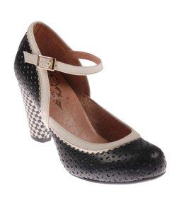 Nemonic 1953 Zapato madison negro/hielo piso rosseta