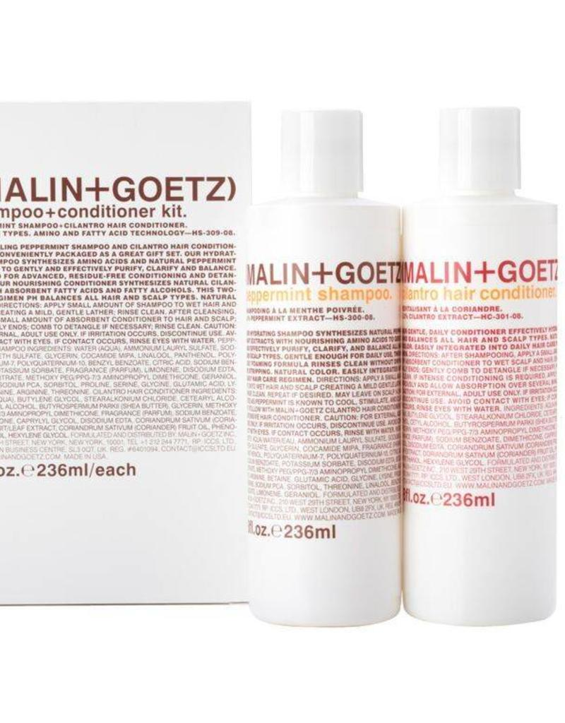 Malin+Goetz shampoo + conditioner kit (peppermint sh., cilantro cond.) 2x 8oz-236ml