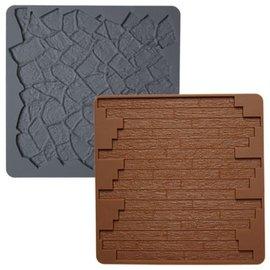 Wilton Wilton Texture Mat -Stone/Wood-Steen/Hout Set/2