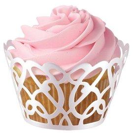 Wilton Wilton Cupcake Wraps White Pearl Swirls pk/18