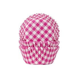 House of Marie HOM Baking Cups Ruitjes Hot Pink pk/24