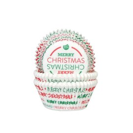 House of Marie HOM Baking Cups WhiteRedGreen Christmas pk/24