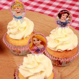 Papieren Cupcake Toppers Prinsessen pk/24