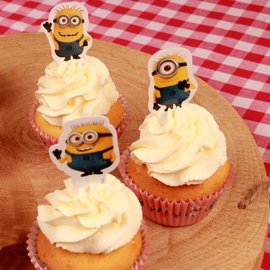 Papieren Cupcake Toppers Minions pk/24