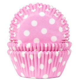 House of Marie HOM Baking Cups Stip Baby Roze- pk/24