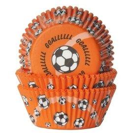 House of Marie HOM Baking cups Voetbal Oranje- pk/24