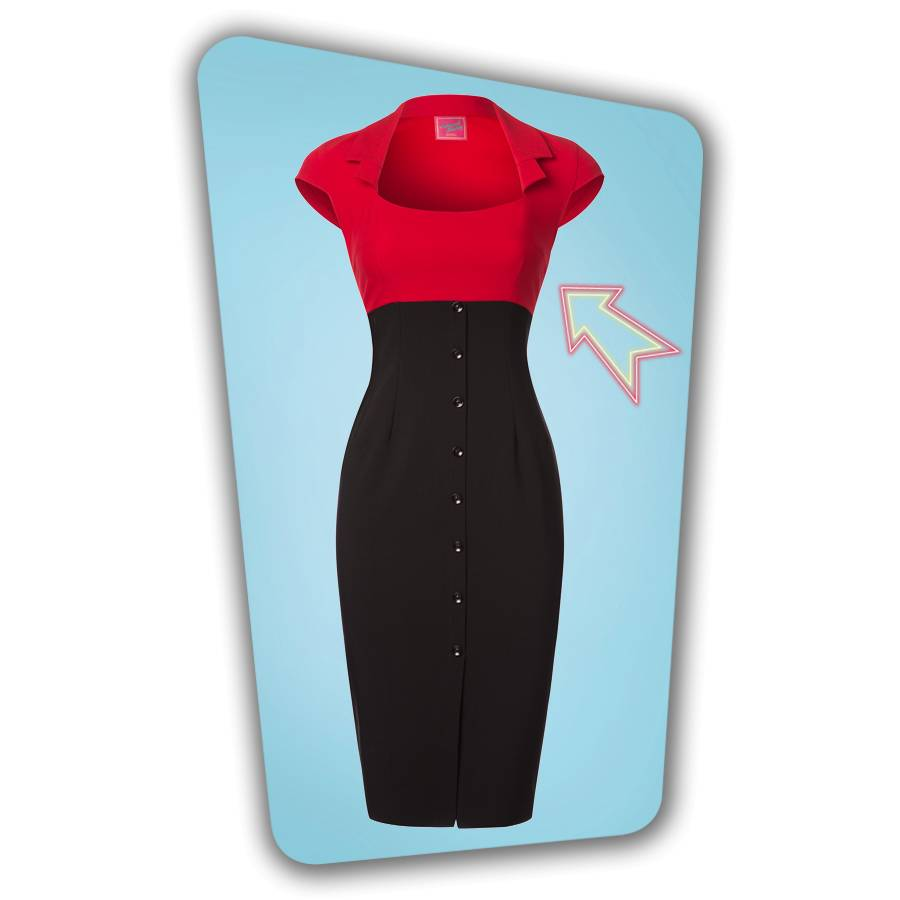 Lexy Pencil Dress - Black and Red