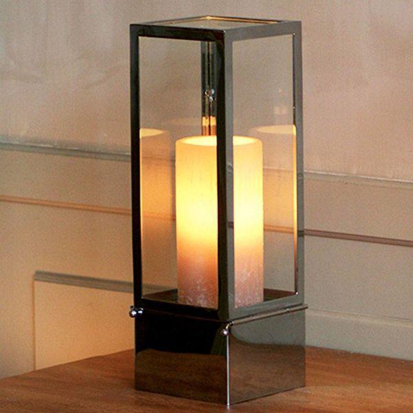 Tafellamp landelijk met kaars LED brons, wit, chroom, nikkel