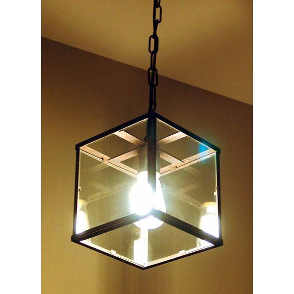 Lantaarn lamp met glas landelijk E27 met ketting
