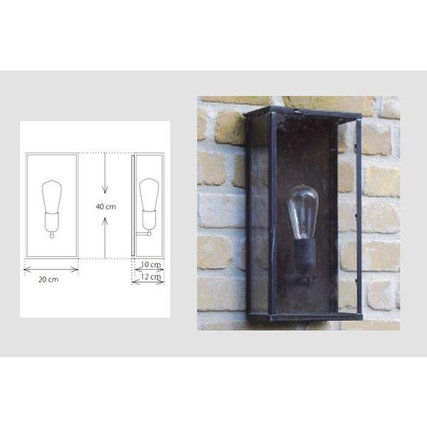 Outdoor wandlamp landelijk glas brons, chroom, nikkel