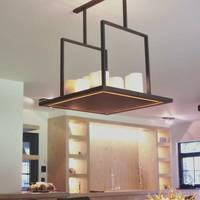 Kaarsen hanglamp vierkant LED brons, wit of chroom