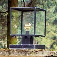 Sokkellamp landelijk brons vierkant E27